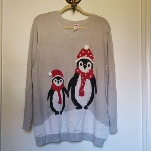 Christmas sweater sparkly penguins